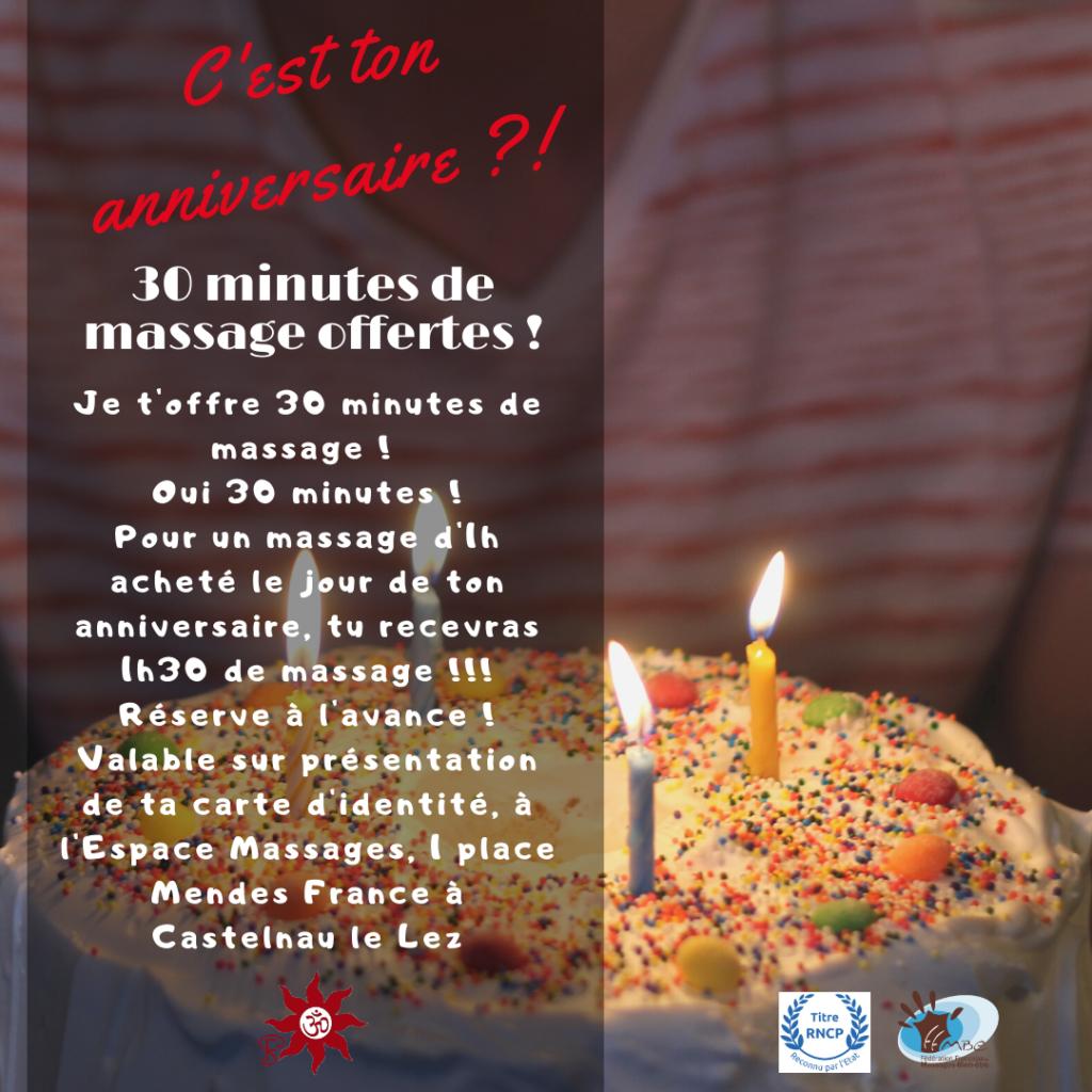 Offre et Promotions Anniversaire L'Espace massage de Sandra Foddai vous souhaite un joyeux anniversaire